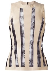 Christopher Kane Striped Lace Embroidery Blouse Nude Neutrals