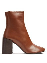 Acne Studios Saul Square Heel Leather Ankle Boots Tan