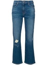 Iro Distressed Cropped Jeans Cotton Polyester Spandex Elastane Blue