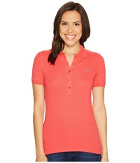 Lacoste Short Sleeve Slim Fit Stretch Pique Polo Shirt Sirop Pink Women's Short Sleeve Knit
