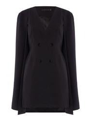 Lavish Alice Long Sleeved Button Front Mini Cape Dress Black