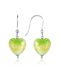 House Of Murano Mare Lime Murano Glass Heart Drop Earrings
