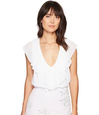 Show Me Your Mumu Easton Ruffle Top White Chiffon Women's Clothing