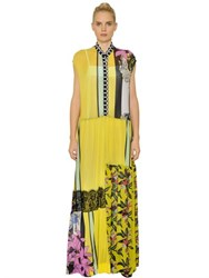 I'm Isola Marras Patchwork Printed Mesh And Chiffon Dress