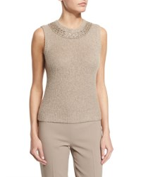 Ralph Lauren Sleeveless Beaded Cashmere Top Oatmeal