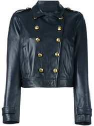 Red Valentino Short Leather Jacket Blue
