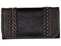 American West Cow Town Trifold Wallet Black Black Hair Wallet Handbags