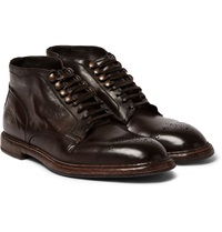 Dolce And Gabbana Brogue Detailed Leather Boots