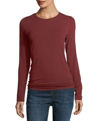 Majestic Paris For Neiman Marcus Soft Touch Long Sleeve Crewneck T Shirt Bordeaux