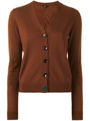 Paul Smith Ps By V Neck Buttoned Cardigan Brown
