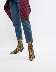 Bronx Leopard Print Pony Pointed Heeled Ankle Boots Multi