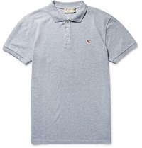 Maison Kitsune Slim Fit Cotton Pique Polo Shirt Blue