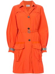 Kolor Belted Military Coat Yellow And Orange