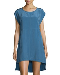 Nu Construction Short Sleeve A Line High Low Dress Blue Stone