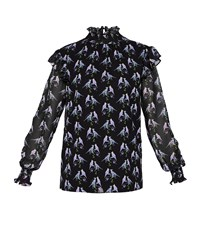 Ted Baker Zabrina Love Birds Ruffle Blouse Black