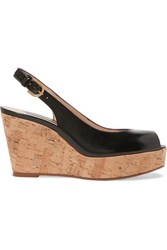 Stuart Weitzman Jean Glossed Textured Leather Slingback Wedge Sandals Black