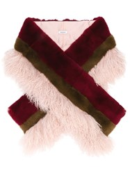 P.A.R.O.S.H. Two Tone Fur Stole Pink And Purple