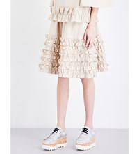 Paskal Ruffled A Line Stretch Cotton Skirt Coffee