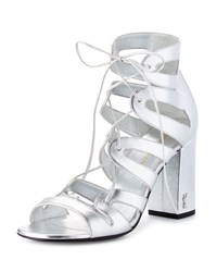 Saint Laurent Babies Lace Up Block Heel Sandal Platine