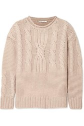 Agnona Ribbed Cable Knit Cashmere Sweater Beige