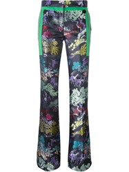 Marco De Vincenzo Side Zip Detail 'China' Print Flared Trousers Multicolour