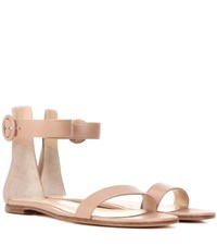 Gianvito Rossi Exclusive To Mytheresa.Com Portofino Flat Leather Sandals Neutrals
