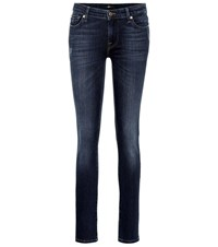 7 For All Mankind Pyper Mid Rise Skinny Jeans Blue