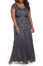 Adrianna Papell Plus Size Women's Beaded V Neck Gown
