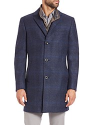 Saks Fifth Avenue Plaid Wool Overcoat Blue