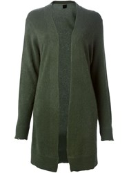 Rta Distressed Open Front Cardigan Green