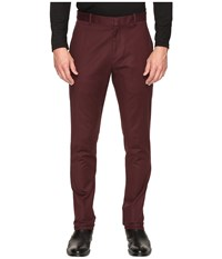 Perry Ellis Slim Fit Stretch Solid Sateen Dress Pants Port Men's Dress Pants Burgundy