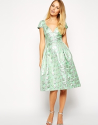 Asos Deep Plunge Metallic Prom Dress Green