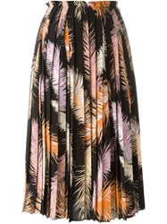 Emilio Pucci Feather Print Pleated Skirt Black