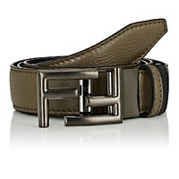 Fendi Men's Reversible Leather Belt Black Green Blue Black Green Blue