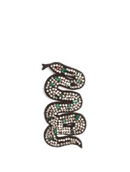 Gucci Snake Crystal Embellished Brooch Black Multi