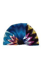 Missoni Mare Turban In Blue Metallics Geometric Print Blue Metallics Geometric Print