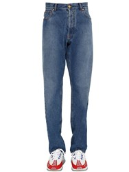 Versace Logan Fit Cotton Denim Trousers Blue
