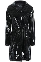 Boutique Moschino Faux Patent Leather Trench Coat Black