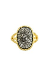 Freida Rothman Women's Gilded Cable Large Pave Cocktail Ring Black Gold
