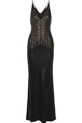 Narciso Rodriguez Embellished Silk Satin Gown Black