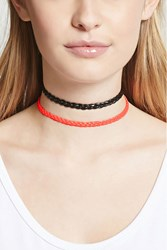 Forever 21 Braided Faux Leather Choker Set Black Hot Pink
