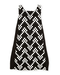 Zoe Riley Sleeveless Colorblock Chevron Shift Dress Black White Size 7 16 Black White