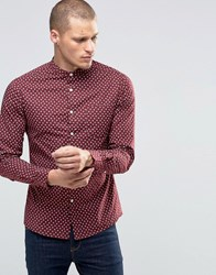 Asos Skinny Shirt With Ditsy Floral Print And Grandad Collar In Burgundy Red Brown