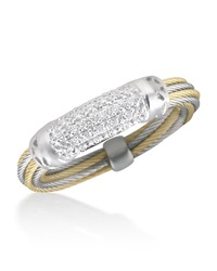 Alor Pave Diamond Bar Id Ring Gray Yellow
