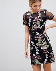 Girls On Film Floral Embroidered Mini Dress Black