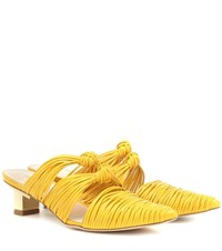Cult Gaia Paige Leather Mules Yellow