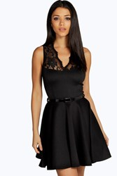 Boohoo Scallop Lace Belted Skater Dress Black