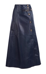 Sonia Rykiel Full Length Leather Skirt Blue