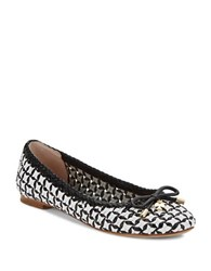Kate Spade Windsor Woven Leather Ballet Flats Black White