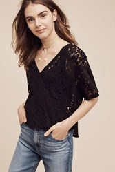 Anthropologie Lace Cross Front Top Black